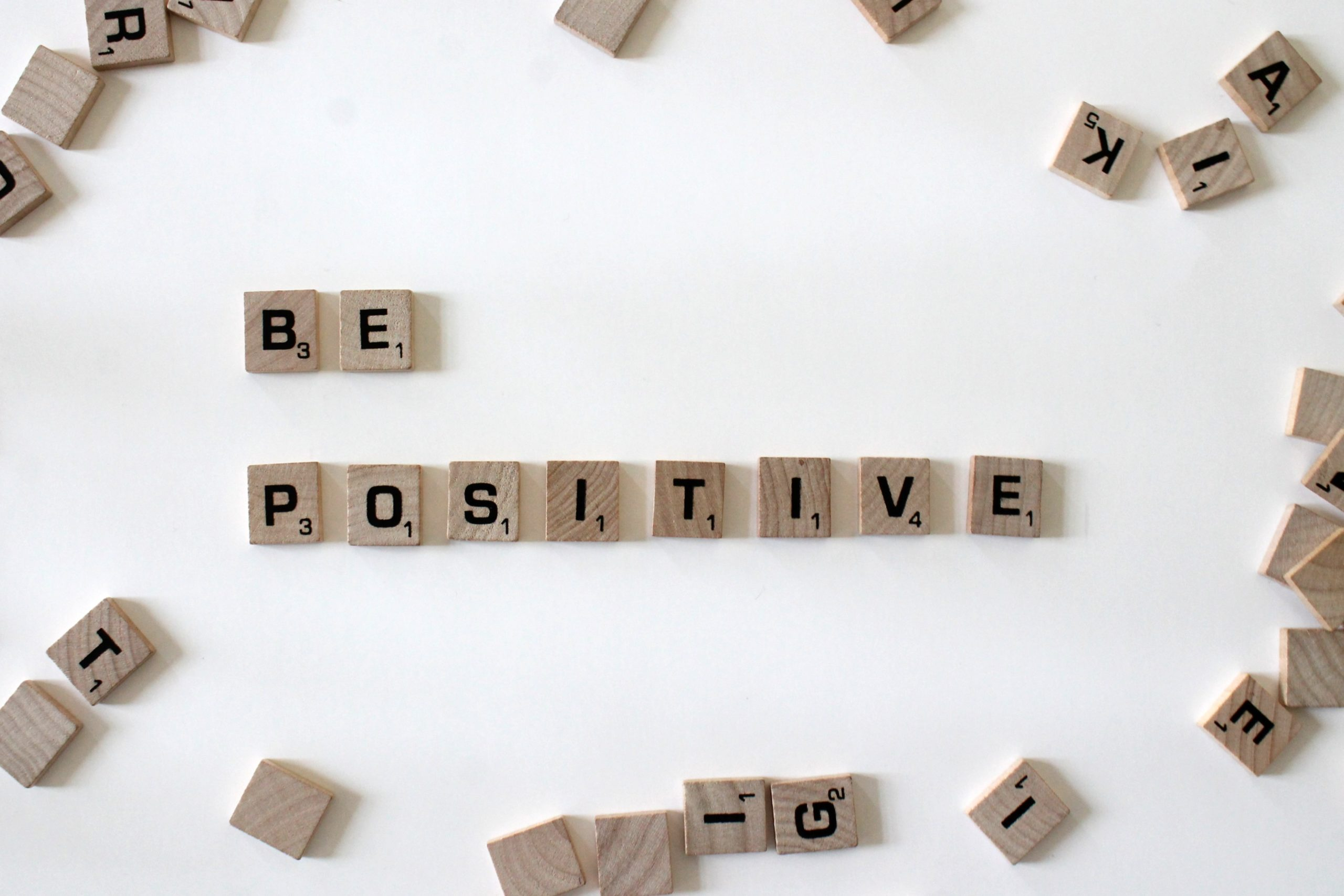 Scramble tiles spelling out be positive |Be positive