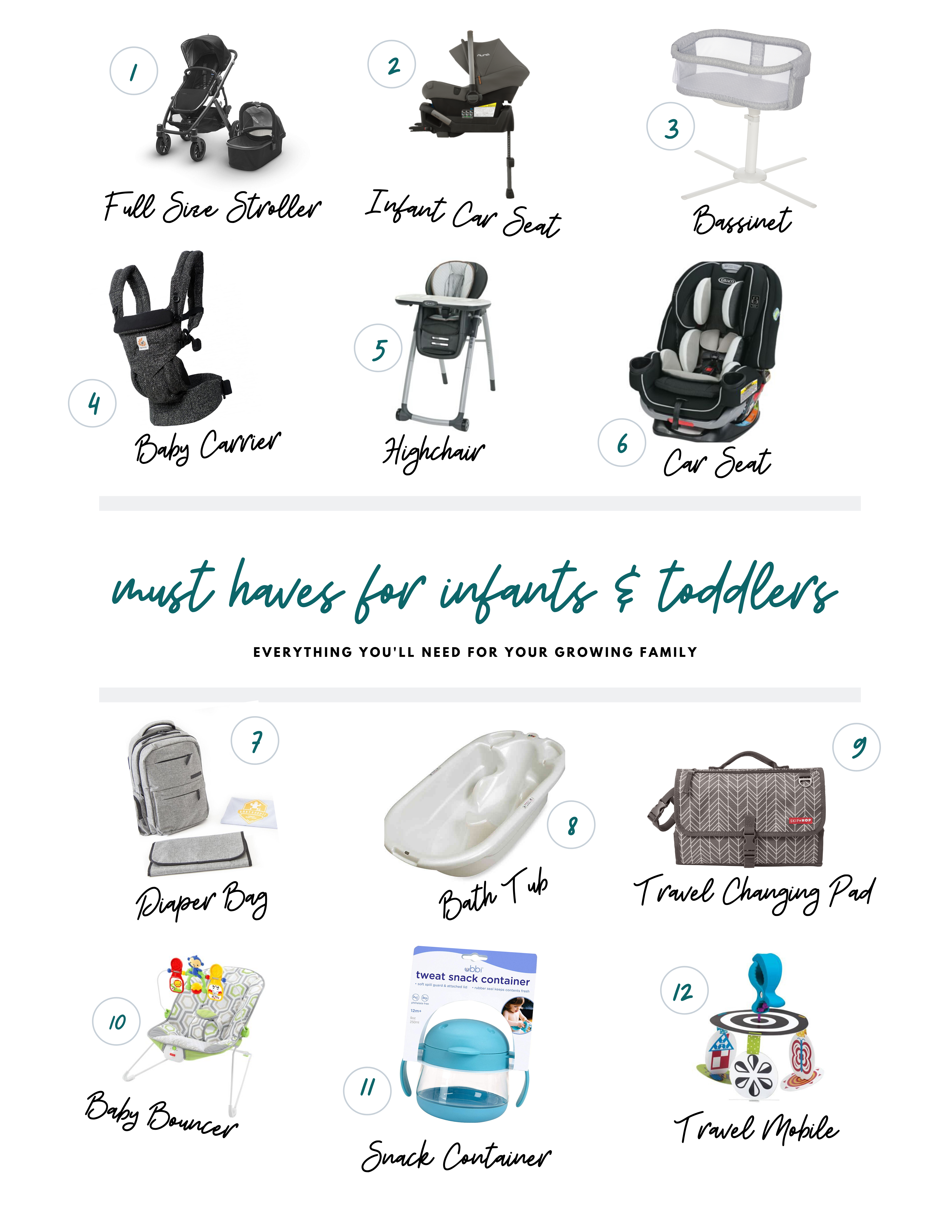 must haves for infants & toddlers