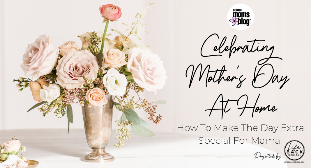 pink flower vase on table | celebrating mother's day at home