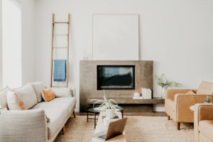 family room picture with sofa, tv and chairs
