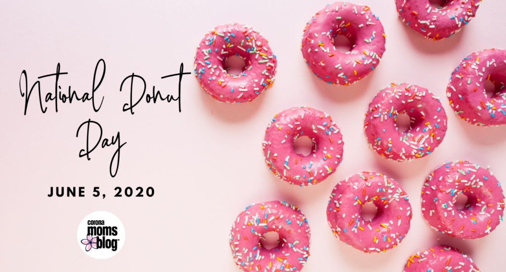 national donut day with pink donuts and sprinkles