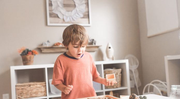 toddler boy playing dinos on a small white table